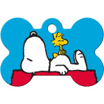 Snoopy on House Large Bone Quick-Tag