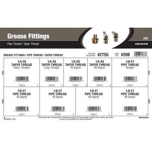 Pipe & Taper-Thread Grease Fittings Assortment