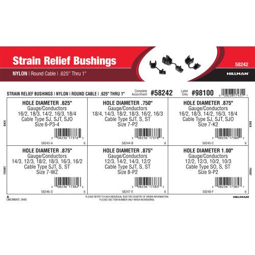 Nylon Strain Relief Bushings Assortment (0.625