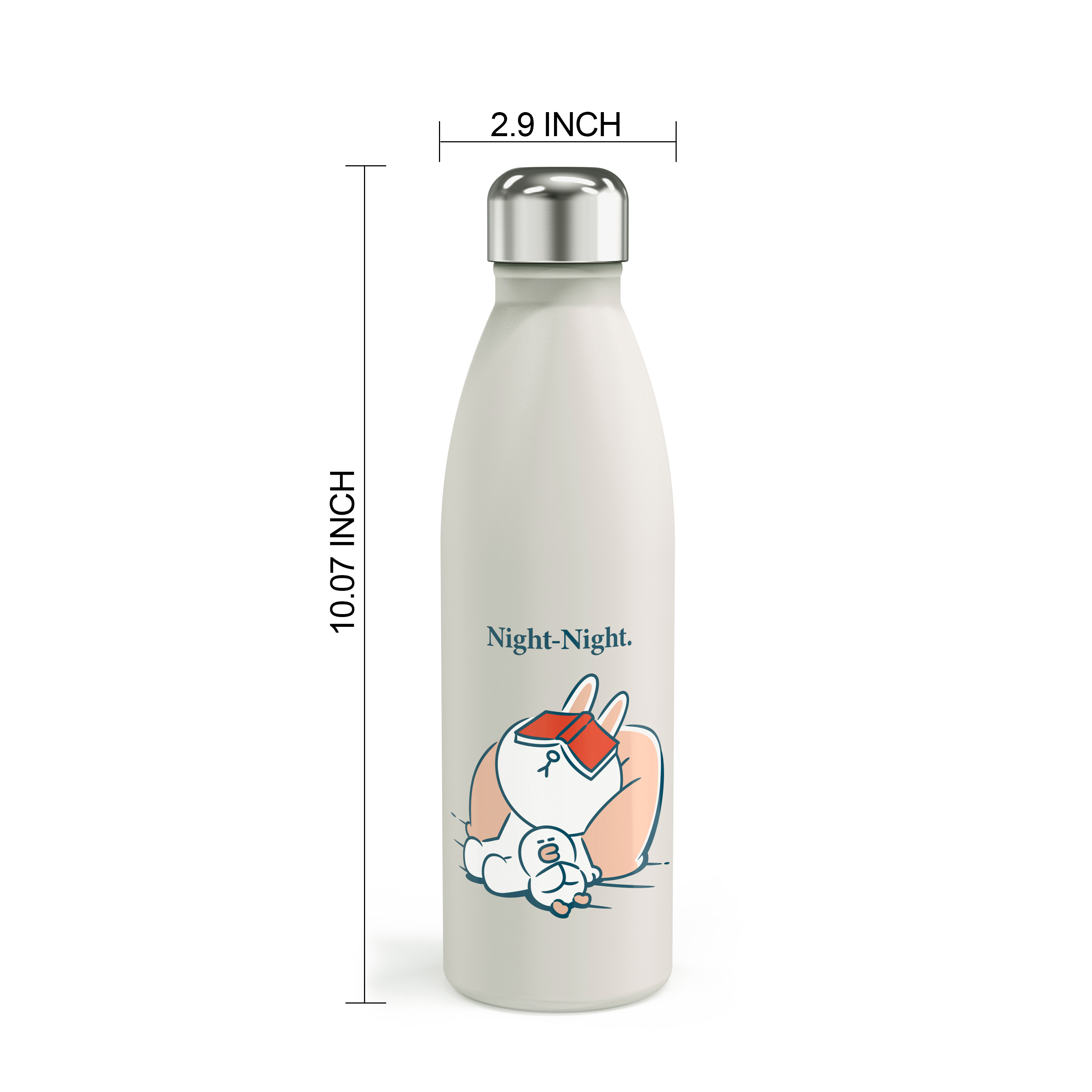 Line Friends 17.5 ounce Vacuum Insulated Stainless Steel Water Bottle, Sleepy Bunny slideshow image 7
