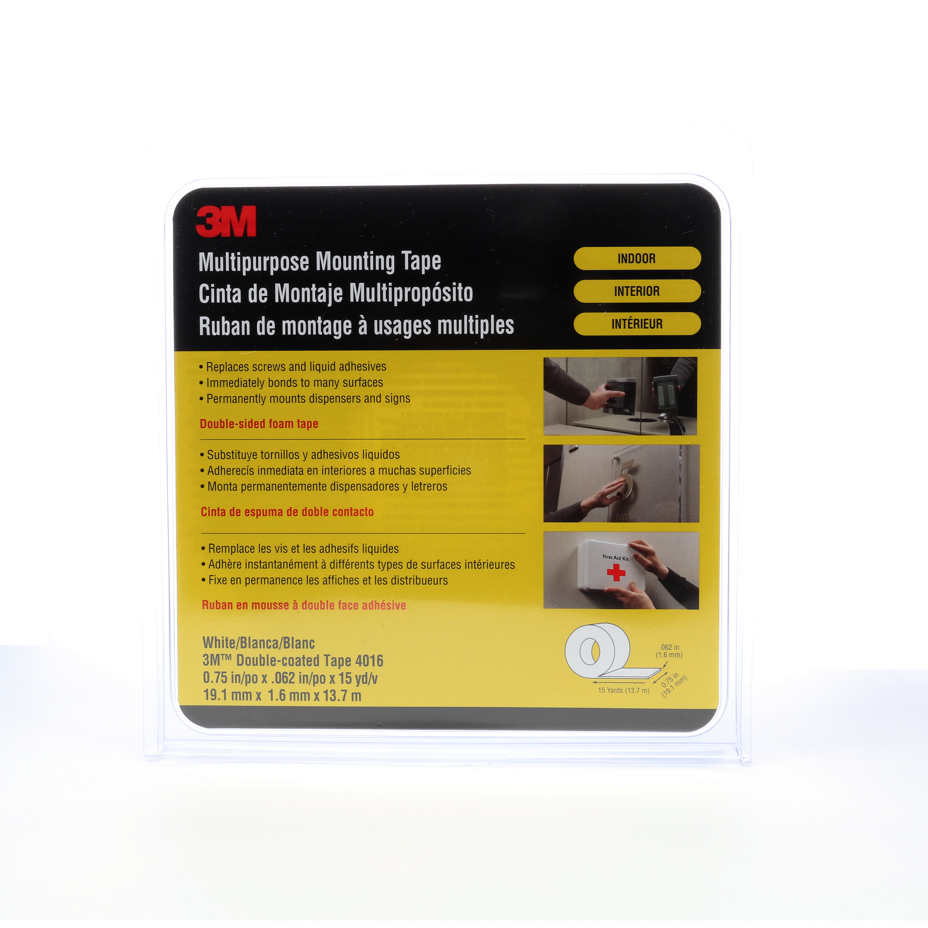 3M™ Multipurpose Mounting Tape 4016, Off White, 3/4 in x 15 yd, 62 mil, 12 rolls per case
