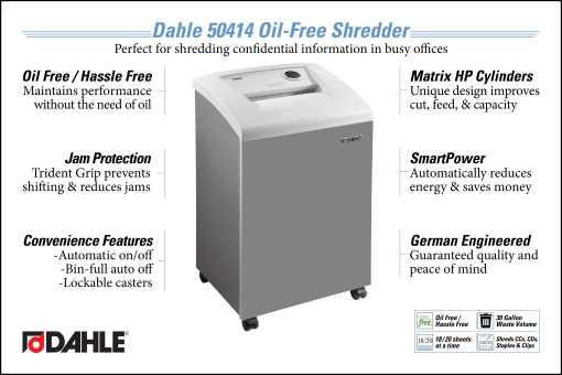 Dahle 50414 Oil Free Office Shredder InfoGraphic