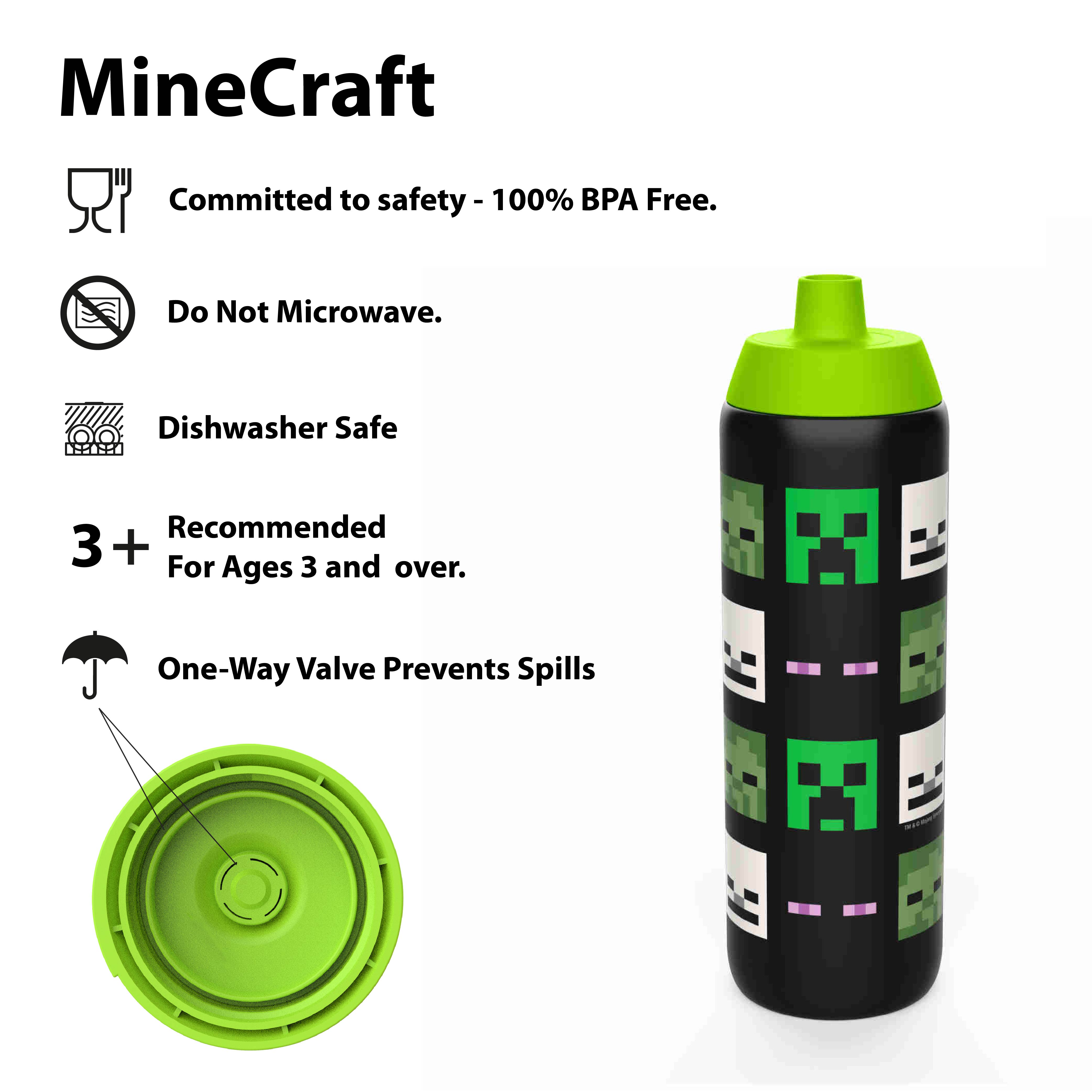 Minecraft Kid's Water Bottle and Sandwich Container Lunch Set, Steve and Alex, 2-piece set slideshow image 13