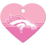 Denver Broncos Pink Chrome Large Heart Quick-Tag