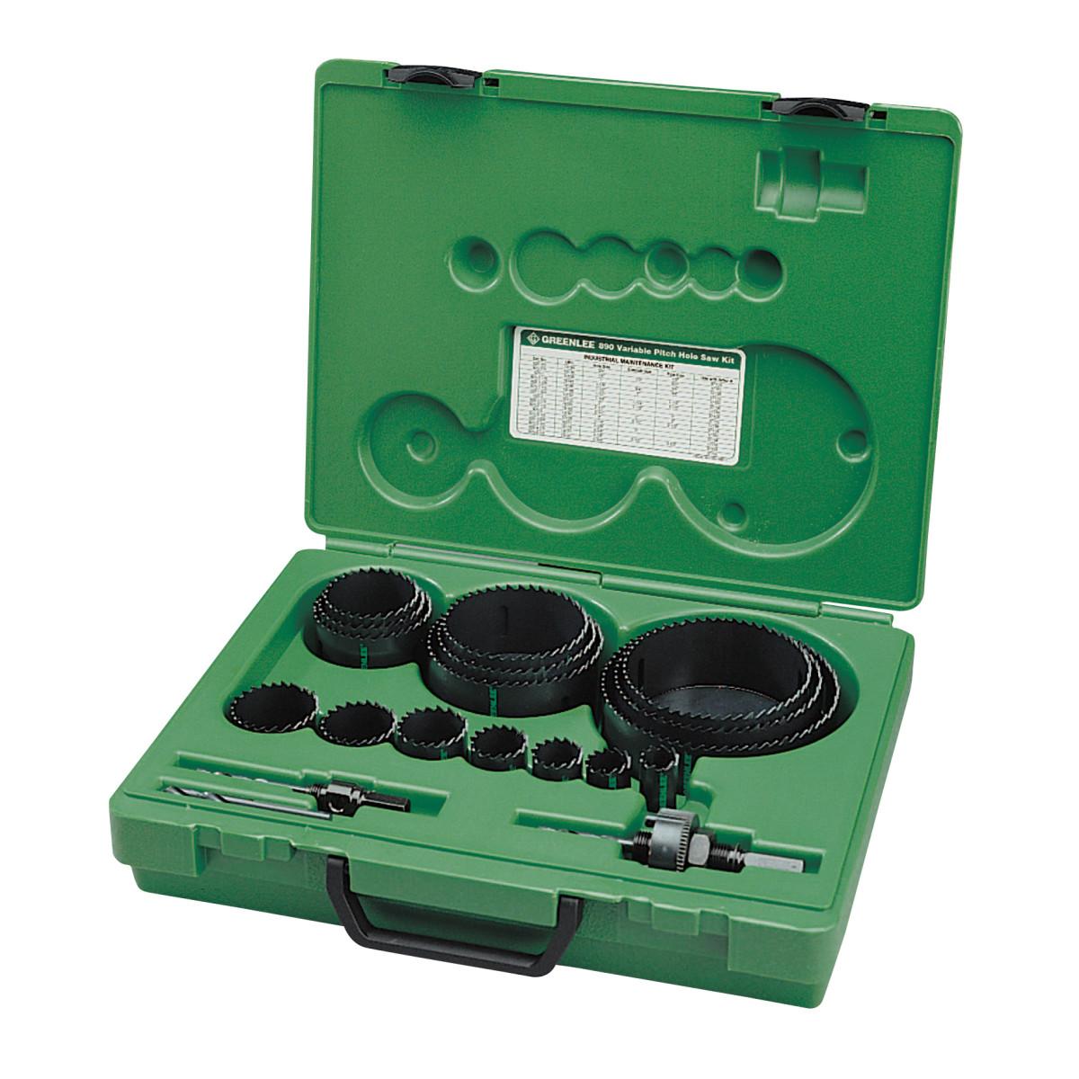 "Greenlee 890 Industrial Maintenance Hole Saw Kit - 3/4"" thru 4-3/4"", with Case"