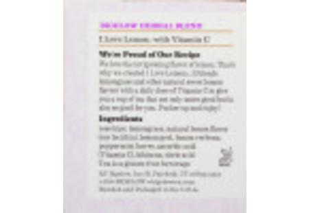 Ingredient panel of I Love Lemon Herbal Tea box