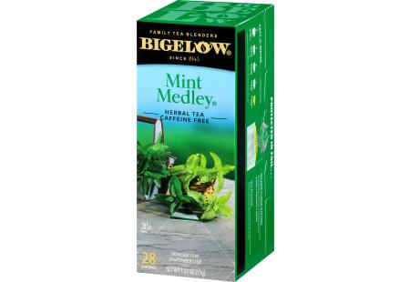 Right facing Mint Medley Herbal Tea Box of 28 tea bags