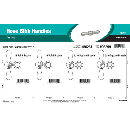 Tee Style Hose Bibb Handles Assortment