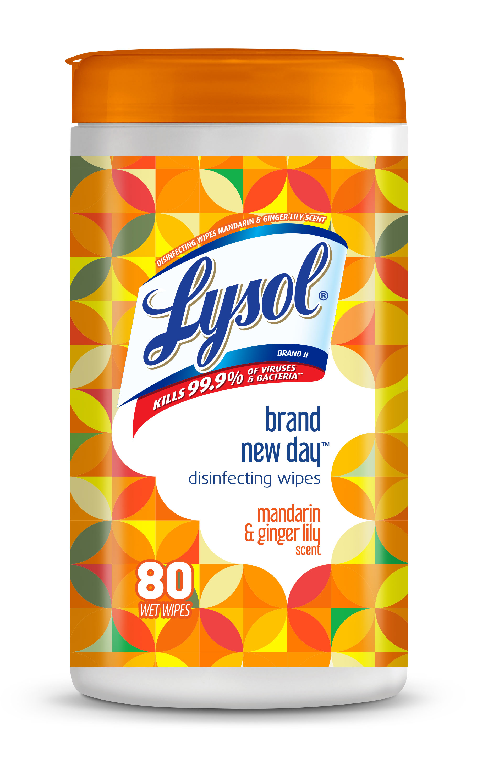 Lysol Disinfecting Wipes, Mandarin & Gingerlily, 80ct, Brand New Day