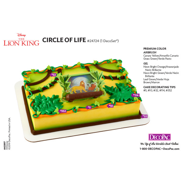 Disney The Lion King Circle of Life Cake Decorating Instruction Card