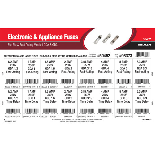 Electronic & Appliance Fuses Assortment (GDA Fast-Acting & GDC Time Delay Metric Fuses)