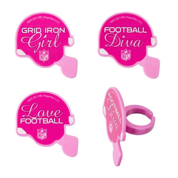NFL Pink Helmet Cupcake Rings