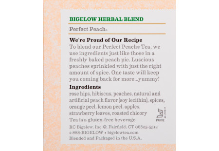 Ingredient panel of Perfect Peach Herbal Tea box