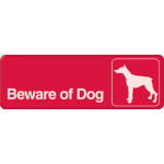 "Red Beware of Dog Visual Impact Sign, 3"" x 9"""
