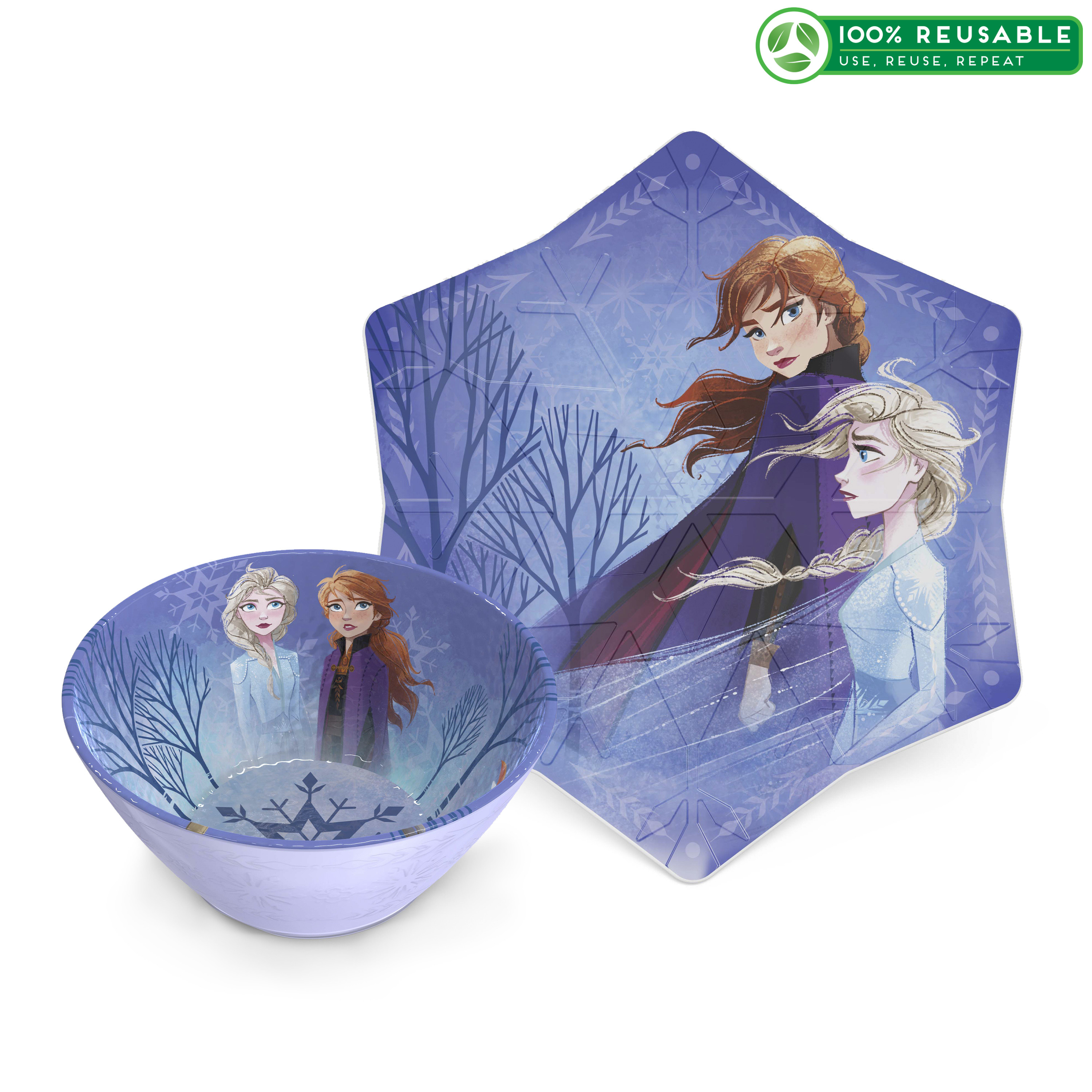 Disney Frozen 2 Movie Kid's Dinnerware Set, Anna and Elsa, 2-piece set slideshow image 1