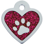 Pink Glitter Epoxy Paw Small Heart Quick-Tag