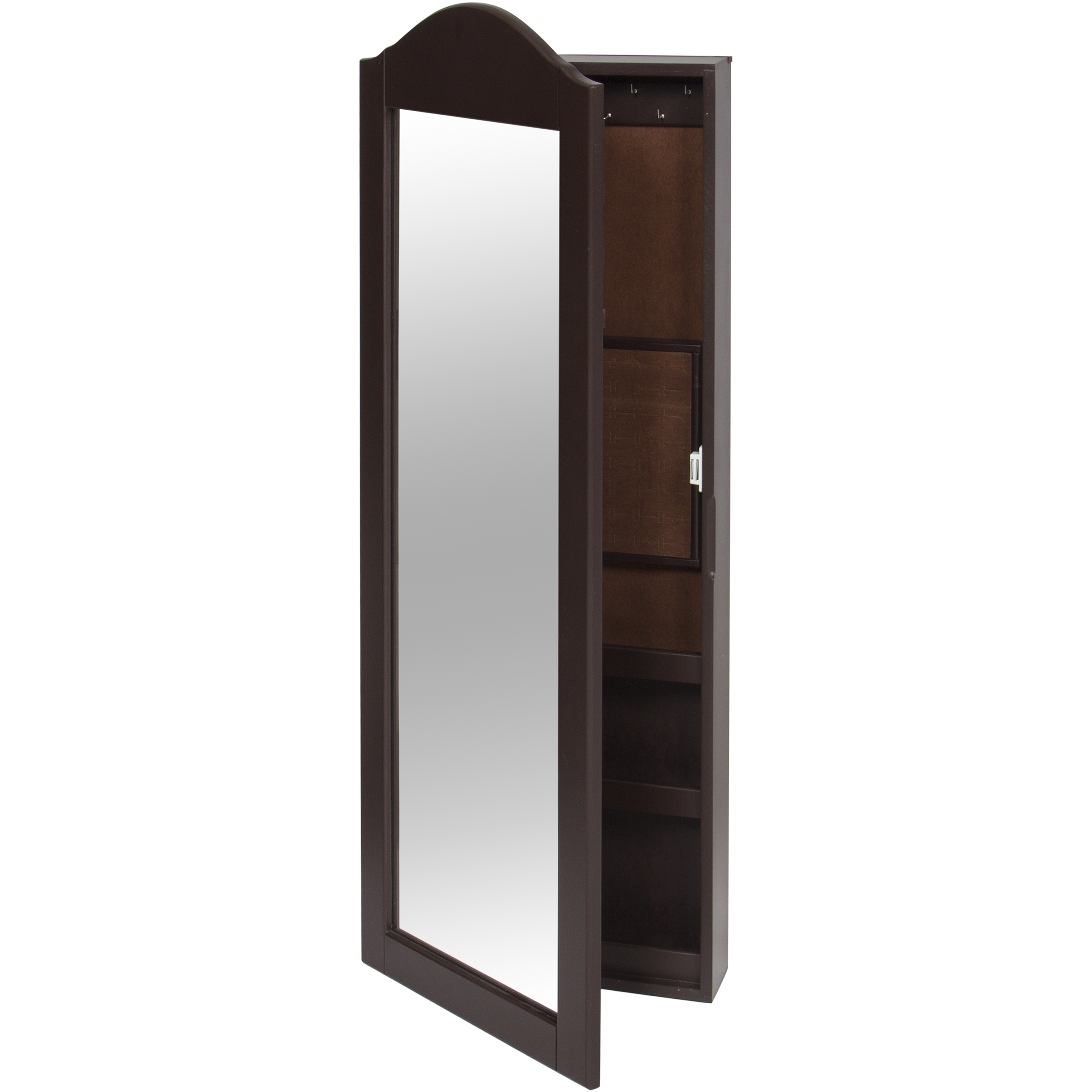 best choice products wall mounted mirror jewelry cabinet armoire brown 816586021304 ebay. Black Bedroom Furniture Sets. Home Design Ideas