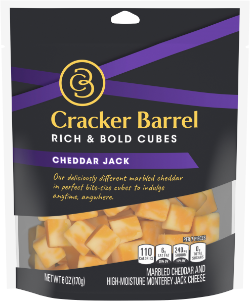 Cracker Barrel Cubes Cheddar Jack, 6oz Bag