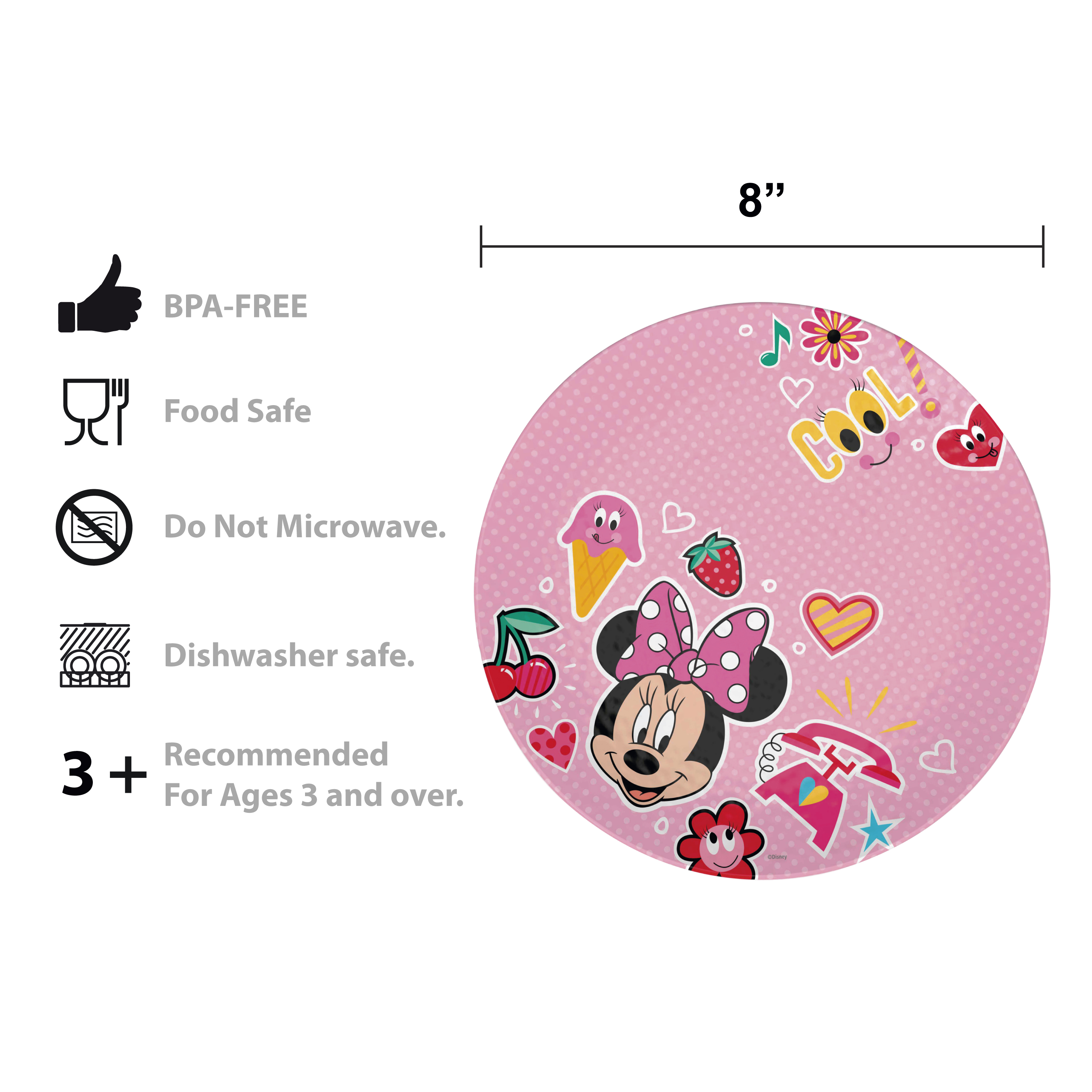 Disney Kids 9-inch Plate and 6-inch Bowl Set, Minnie Mouse, 2-piece set slideshow image 5
