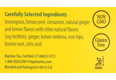 Ingredient panel of Lemon Ginger Herbal Tea Box of 28 tea bags