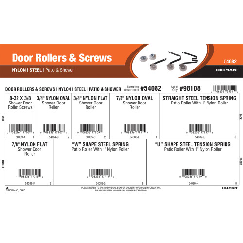 Door Rollers & Screws Assortment (Nylon & Steel for Patio or Shower)