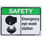 "Aluminum Emergency Eye Wash Station Safety Sign 10"" x 14"""