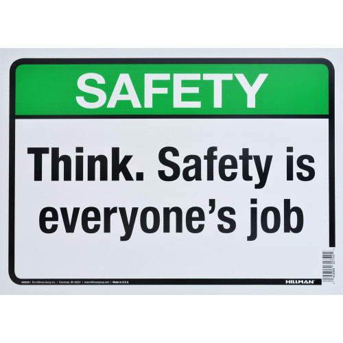 Aluminum Think Safety Sign, 10