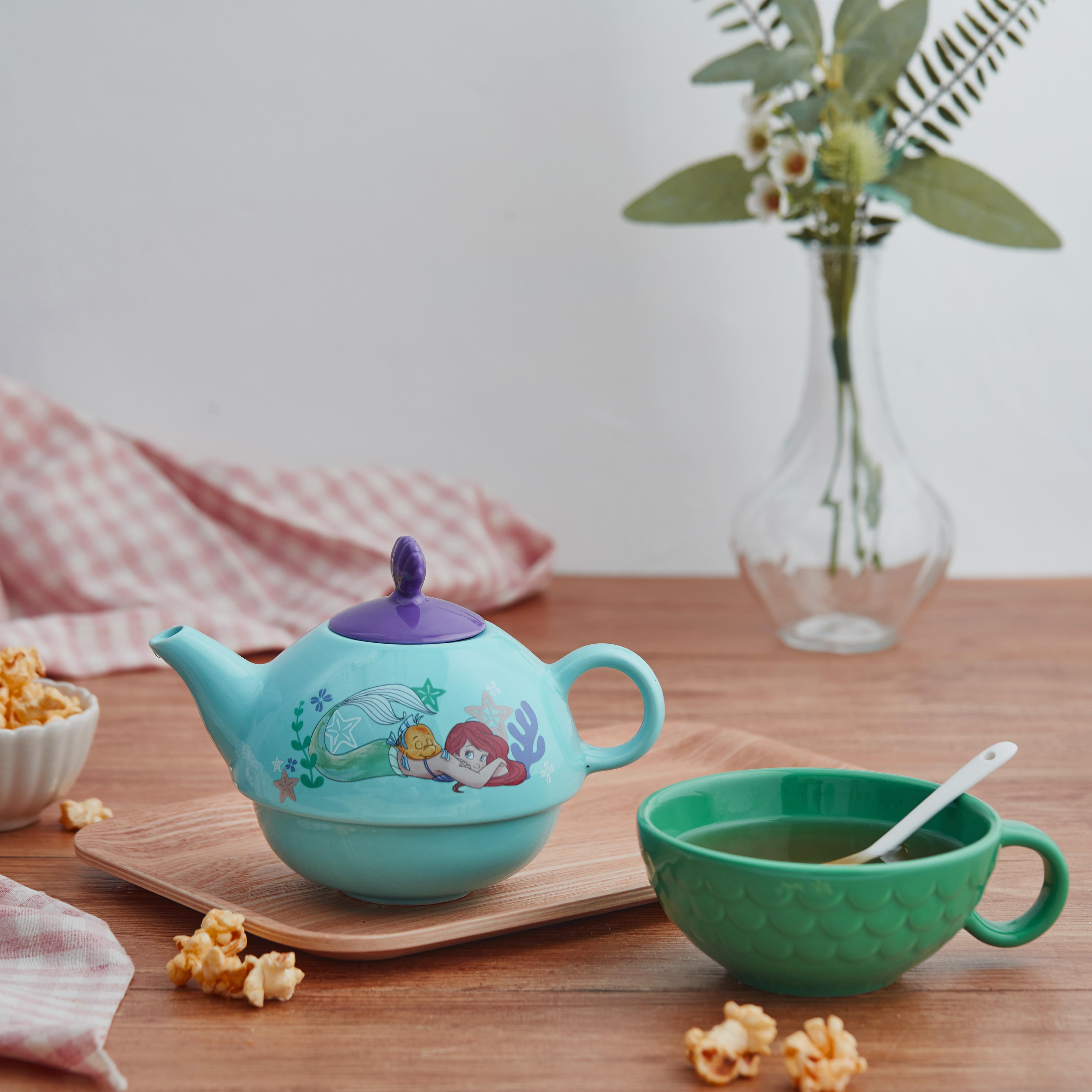 Disney The Little Mermaid Sculpted Ceramic Tea Set, Princess Ariel, 4-piece set slideshow image 6