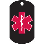 Large Military Medical ID Black and Red Quick-Tag