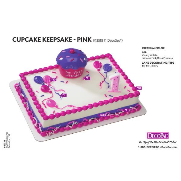 Pink Cupcake Keepsake Cake Decorating Instruction Card