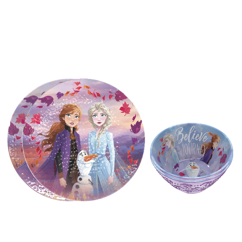 Disney Frozen 2 Movie Kids Plate and Bowl Set, Anna, Elsa & Olaf, 4-piece set slideshow image 2