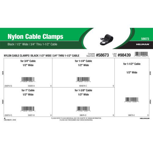 Black Nylon Cable Clamps Assortment (1/2