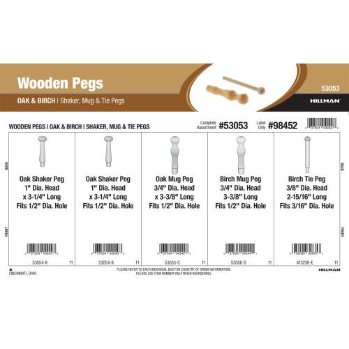 Oak & Birch Wooden Pegs Assortment (Shaker, Mug, & Tie Pegs)