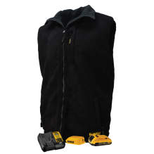DEWALT® Men's Heated Reversible Fleece Vest Kitted Black