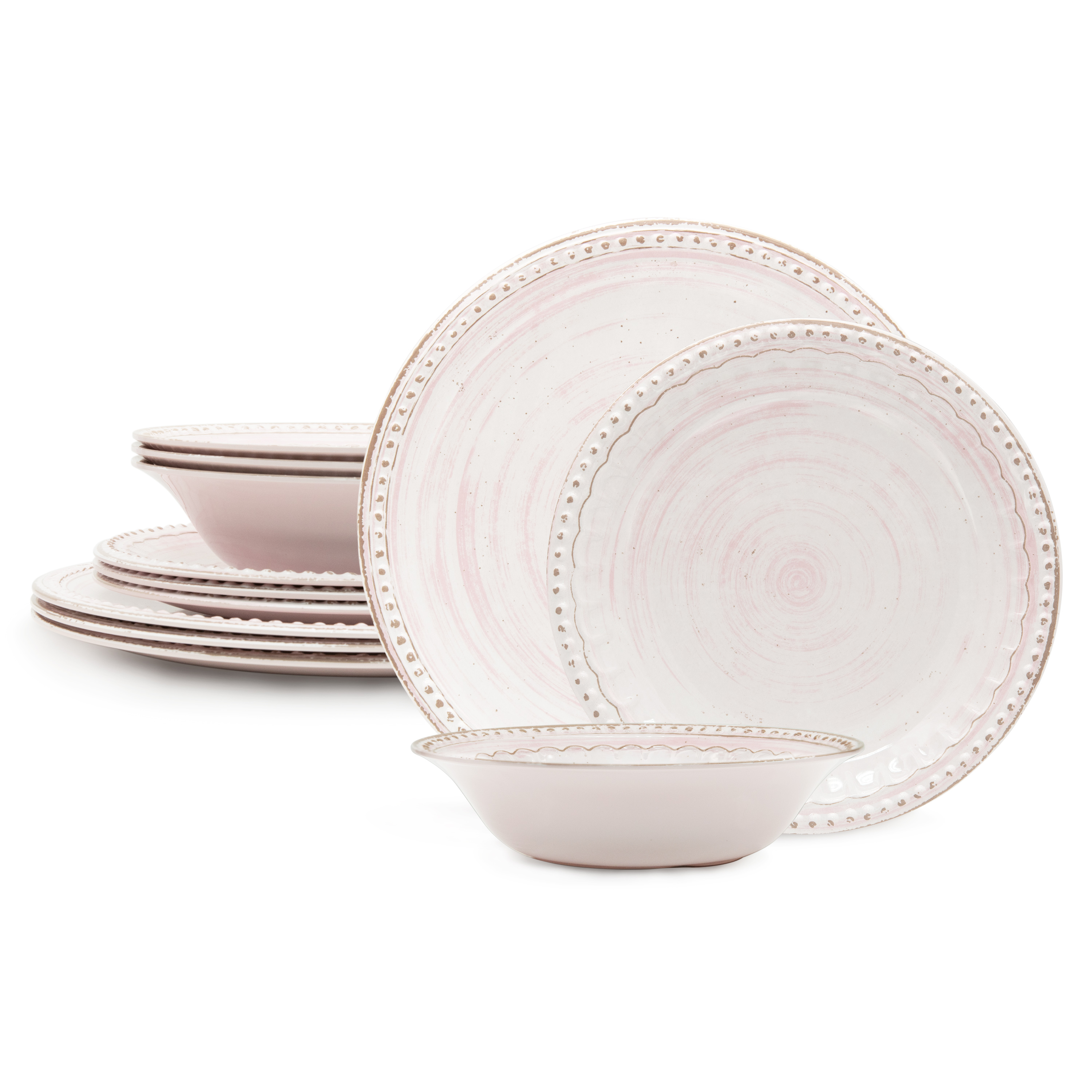 French Country Plate & Bowl Sets, Pink, 12-piece set slideshow image 1