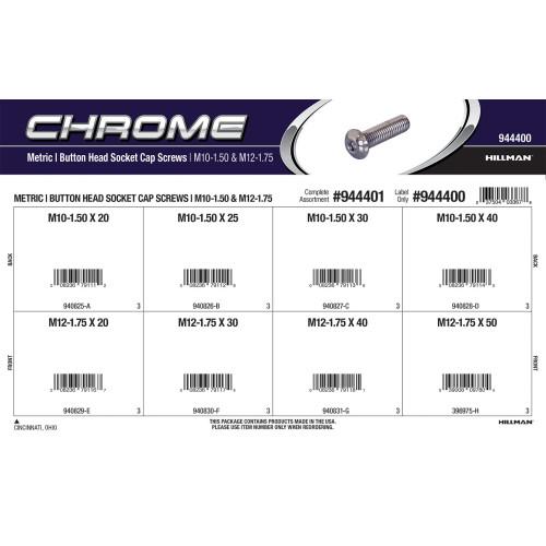 Chrome Button-Head Metric Socket Cap Screws Assortment (M10-1.50 & M12-1.75 Thread)