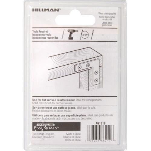 Hardware Essentials Flat Corner Brace Iron Brite Brass 2