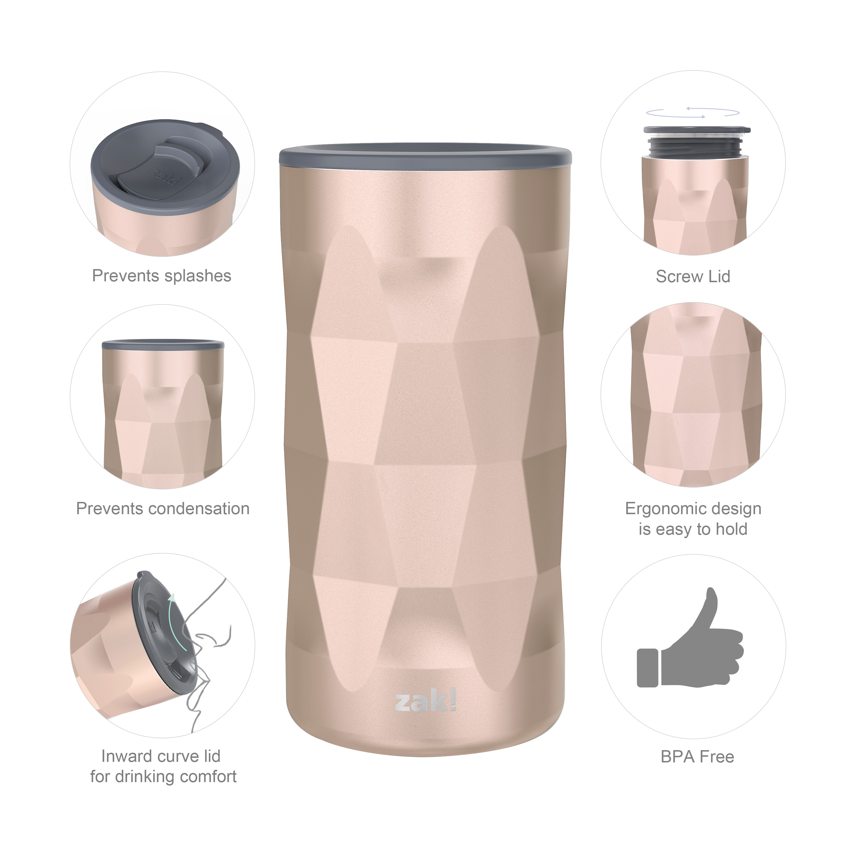 Fractal 12 ounce Vacuum Insulated Stainless Steel Tumbler, Rose Gold slideshow image 9