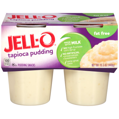 Jell-O Ready to Eat Fat Free Tapioca Pudding Snack 15.5 oz Sleeve (4 Cups)