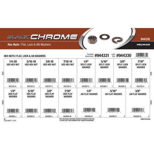 Black Chrome Hex Nuts and Flat, Lock, & AN Washers Assortment