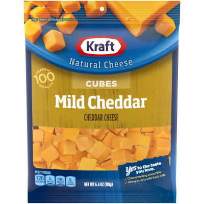 Kraft Mild Cheddar Natural Cheese Cubes 6.4 oz Bag