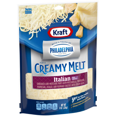Kraft Italian Style Five Cheese with a Touch of Philadelphia Shredded Natural Cheese, 8 oz Pouch