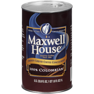 MAXWELL HOUSE 100% Colombian Frozen Liquid Coffee, 1 L. Can (Pack of 4) image