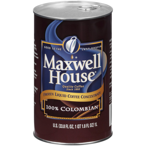 MAXWELL HOUSE 100% Colombian Frozen Liquid Coffee, 1 L. Can (Pack of 4)