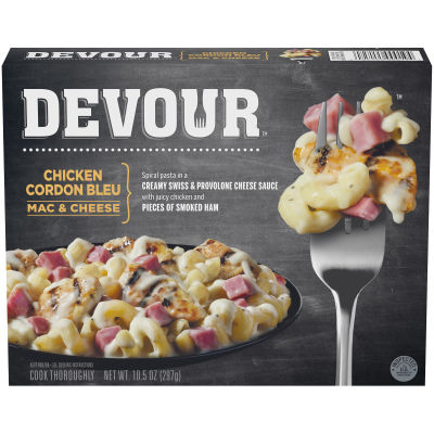 DEVOUR Chicken Cordon Bleu Mac & Cheese Frozen Meal, 10.5 ox Box