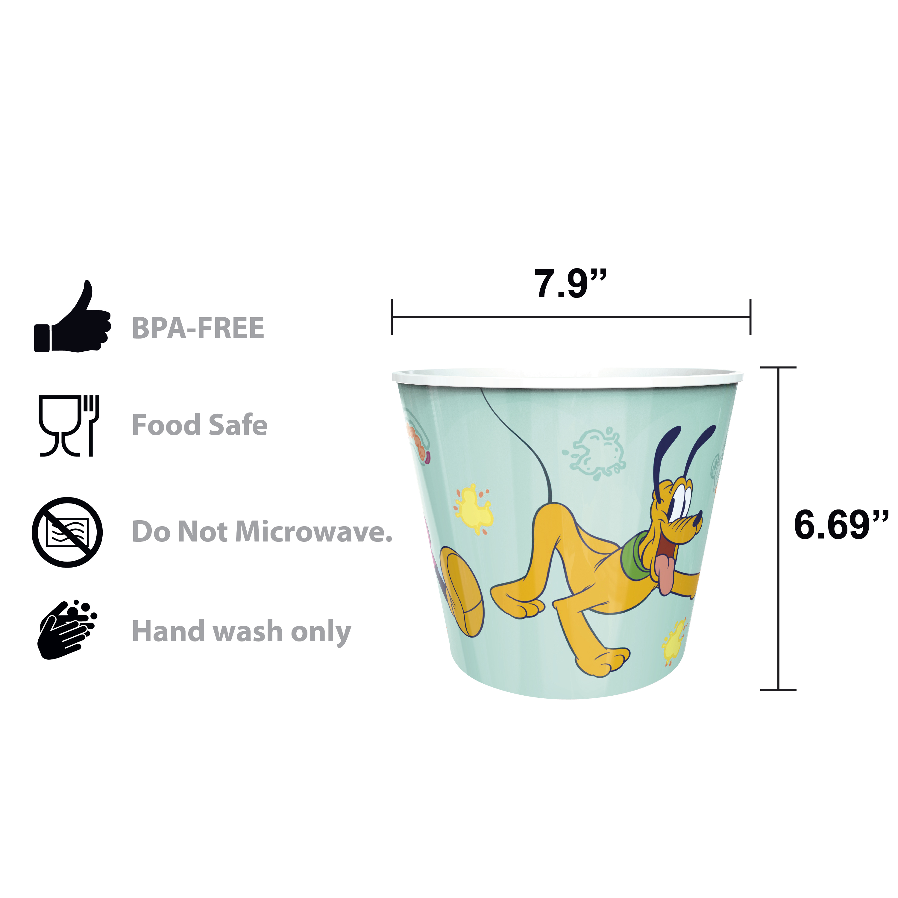 Disney Plastic Popcorn Container and Bowls, Mickey Mouse and Minnie Mouse, 5-piece set slideshow image 11