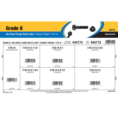 Grade 8 Hex Head Flange Bolts & Nut Assortment (7/16