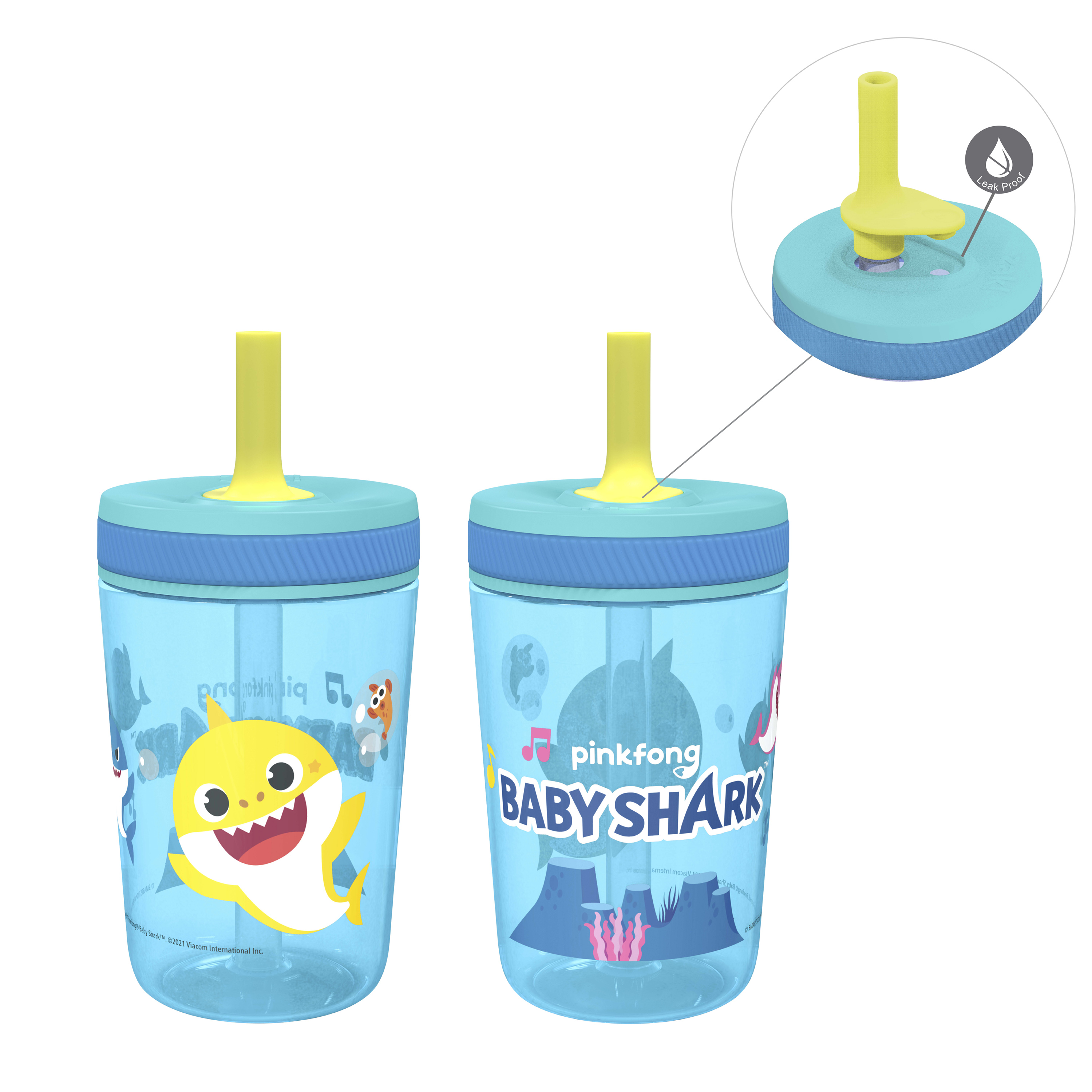 Pinkfong 15  ounce Plastic Tumbler with Lid and Straw, Baby Shark, 2-piece set slideshow image 1
