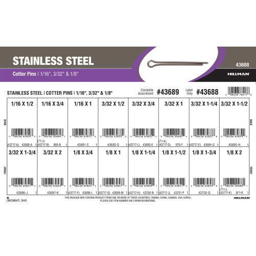 Stainless Steel Cotter Pins Assortment (1/16