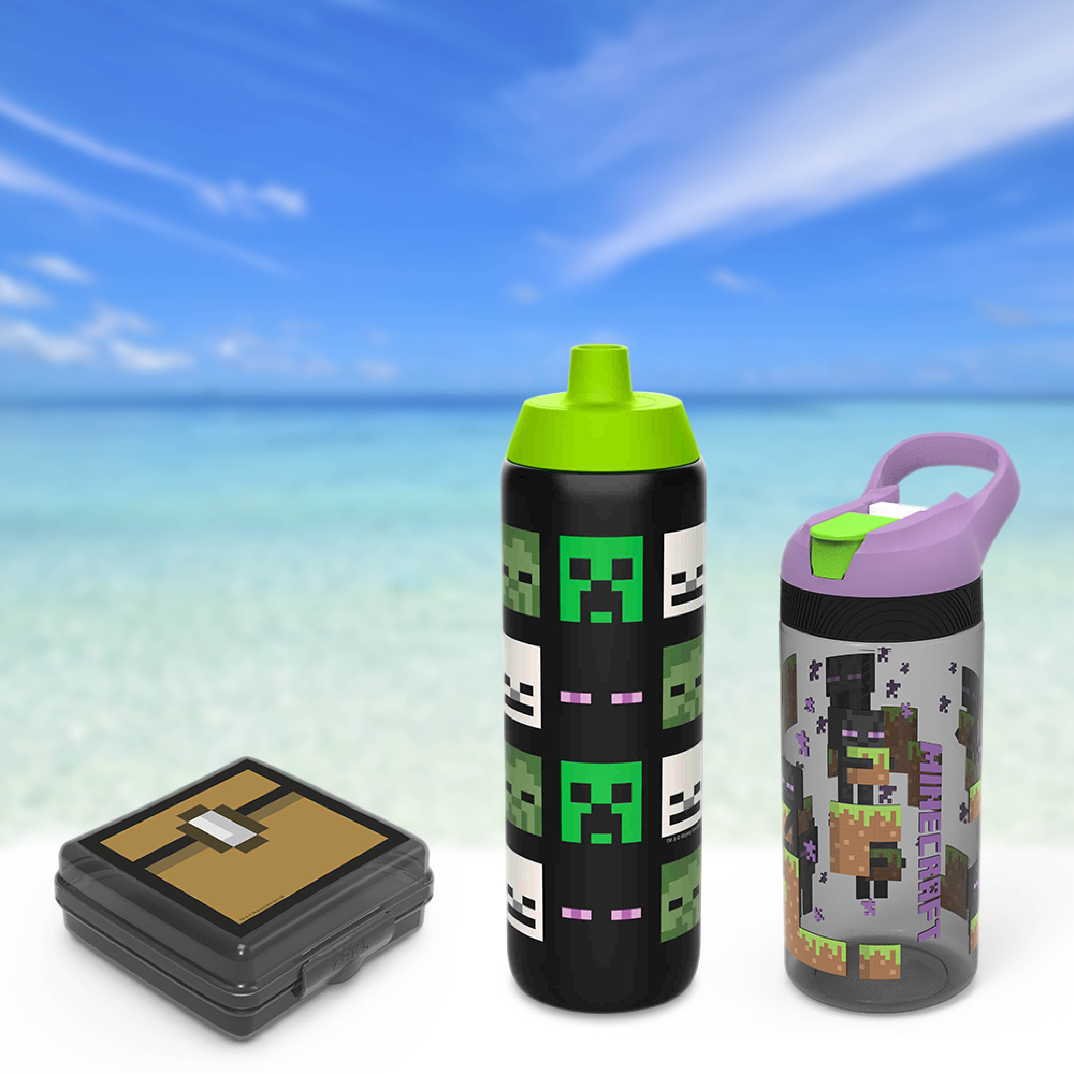 Minecraft Kid's Water Bottle and Sandwich Container Lunch Set, Steve and Alex, 2-piece set slideshow image 10